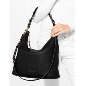 Michael Kors Lupita Large Leather Hobo Bag - Black